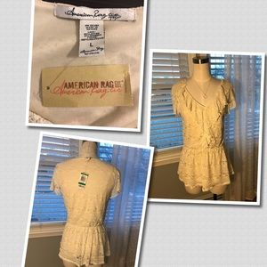 American Rag Elegant Lace With Lining Ivory Blouse